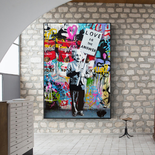 Modern Pop Graffiti Wall Art Canvas Love Is The Answer Posters And Prints Einstein Spray Painting Art Pictures For Living Room