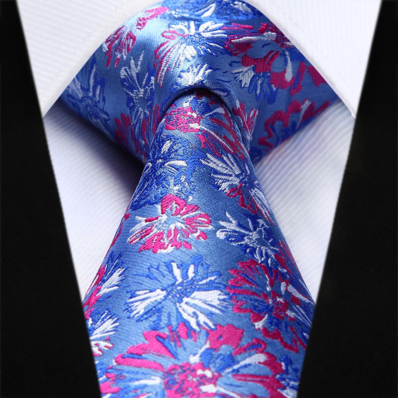 USA Solid Red White Blue  Mens Tie Silk Woven Necktie Hanky Cufflinks Business