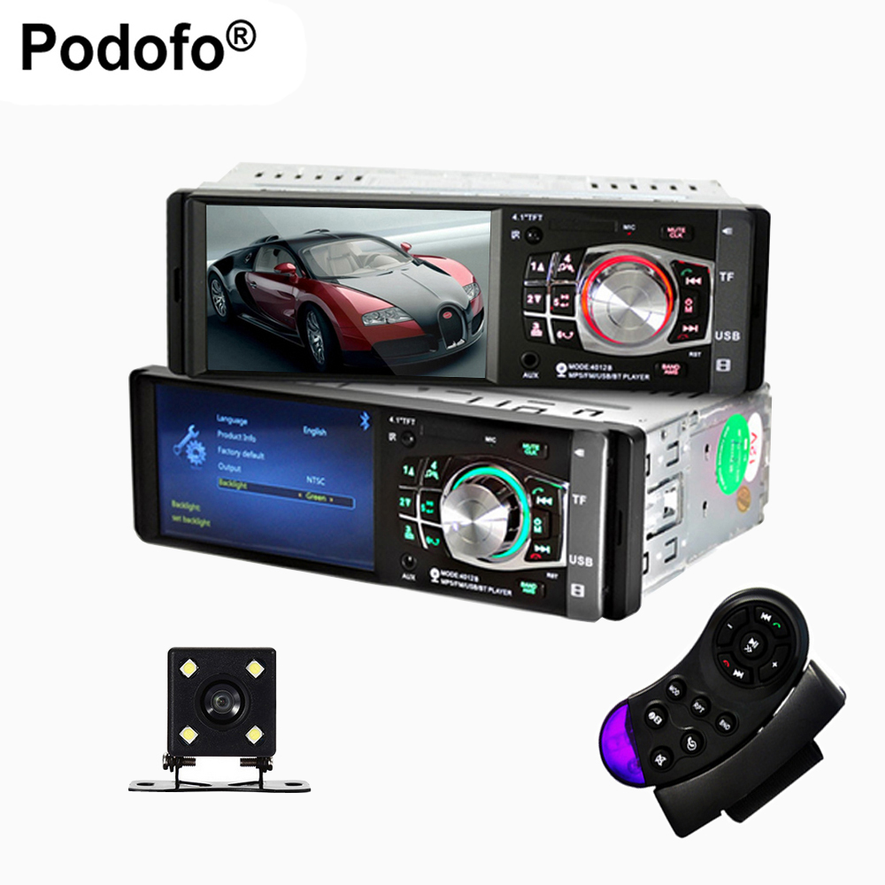 Podofo 1 Din Auto 4.1'' HD Car Multimedia Player MP3 MP5 Audio Stereo Radio Bluetooth FM Remote Control Support Rear View Camera