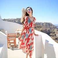 Ladies Summer Dresses Bikini 2017 Red V Neck Sexy Dress Bohemia Chiffon Seaside Beach Female Dress