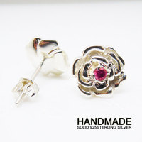 Solid Sterling Silver robycolor Rose Stud Earring