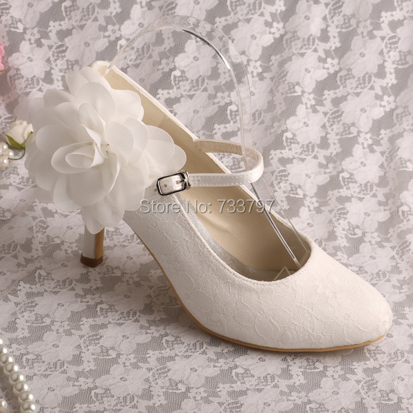 ФОТО Wedopus MW249 Mary Janes Elegant Bridal Shoes Ivory Lace Flower Women Shoes Dropshipping