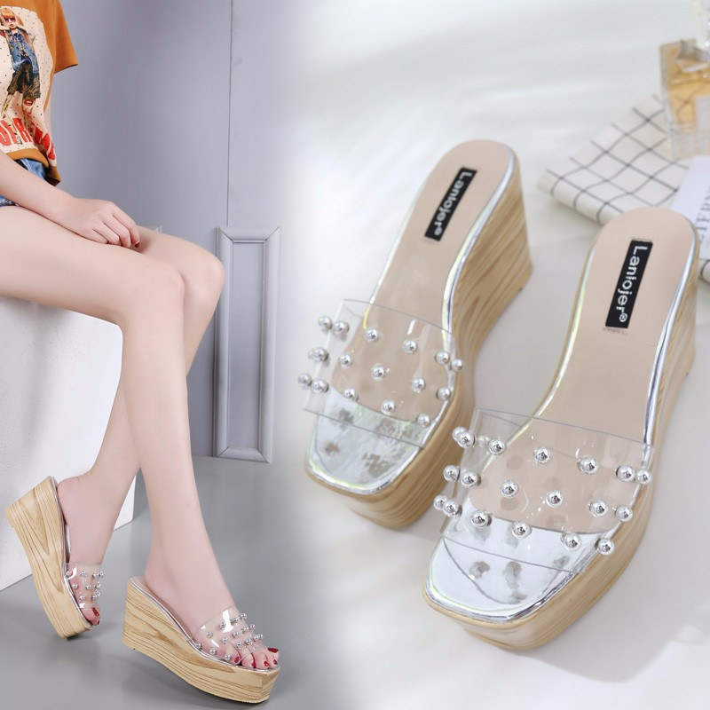 Summer New Women Slides Shoes 2019 New Wedge Slippers Transparent Jelly Shoes Pearl  Crystal Platform SlippersSummer New Women Slides Shoes 2019 New Wedge Slippers Transparent Jelly Shoes Pearl  Crystal Platform Slippers