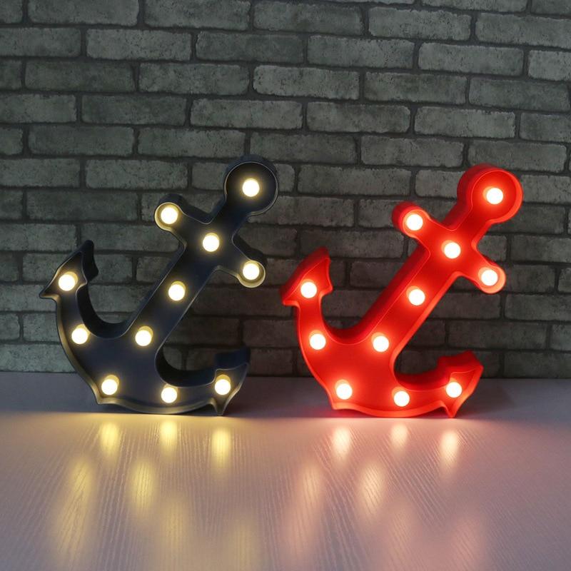 Украшение дома военно-морской якорь моделирования огни якорь 11 LED знаковое событие свет Винтаж ночник Настенные светильники indoor отменять ...