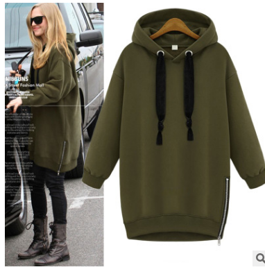 Xl -5xl Autumn Winter Fashion Loose Plus Size Solid Color Medium -Long Hood Pullover Plus Velvet Thickening Sweatshirt