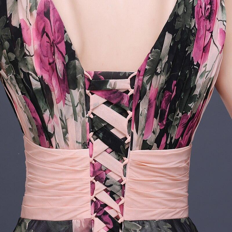 Fleur motif Floral imprimé en mousseline de soie robe de bal robe de soirée longue robes de soirée 2019 - 6