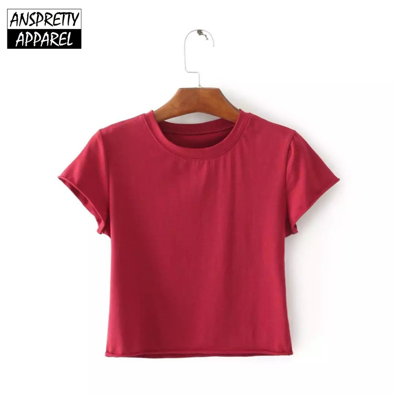 Anspretty Apparel short sleeve summer cropped t shirt women curly side sexy crop top nine color casual tee ...