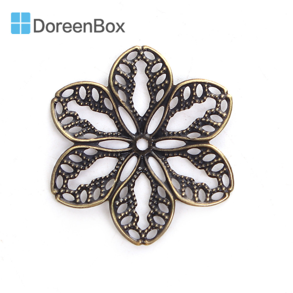 Doreen Box Zinc Based Alloy Embellishments Flower Antique Bronze Filigree Carved DIY Jewelry Making 32mm x 29mm(1 1/8