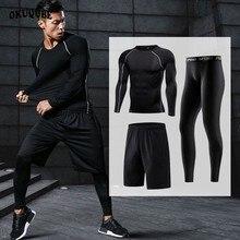 Мужская спортивная одежда, быстросохнущие спортивные костюмы, компрессионные, для тренажерного зала, фитнеса, тренировок, бега