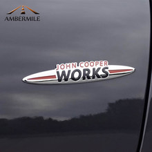 Ambermile metal mini jcw adesivos emblema do corpo carro adesivo para mini cooper countryman jcw f60 f56 f55 r61 r60 r55 r58 acessórios