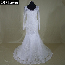 QQ Lover 2017 New Long Sleeves V-Neck Mermaid Lace Wedding Dress See Through Back Custom-made Vestido De Noiva Bridal Gowns
