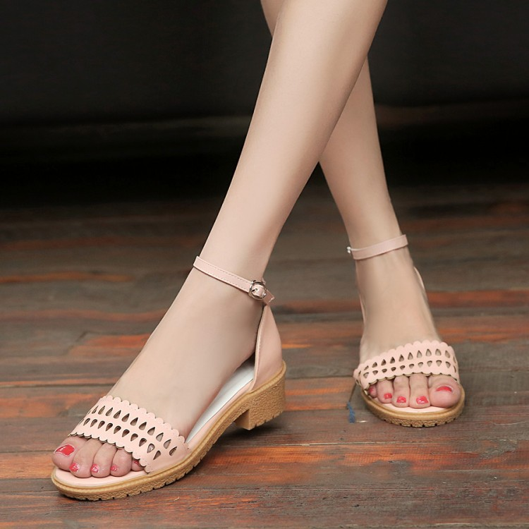 Big Size 9 10 11 12  high heels sandals women shoes woman summer ladies  Hollow-out sandals with thick heelsBig Size 9 10 11 12  high heels sandals women shoes woman summer ladies  Hollow-out sandals with thick heels