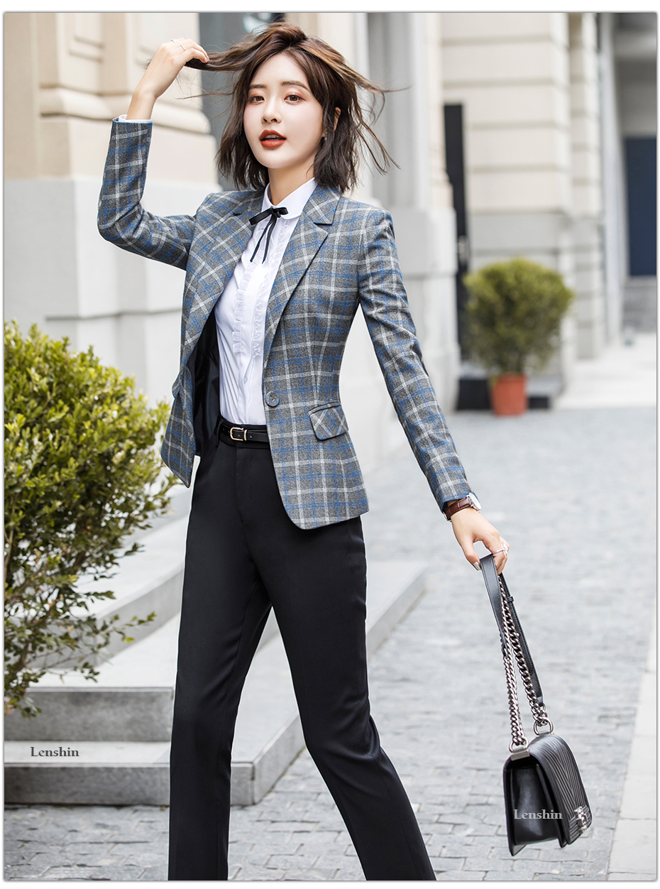 Lenshin Soft and Comfortable High-quality Plaid Jacket with Pocket Office Lady Casual Style Blazer Women Wear Single Button Coat 10