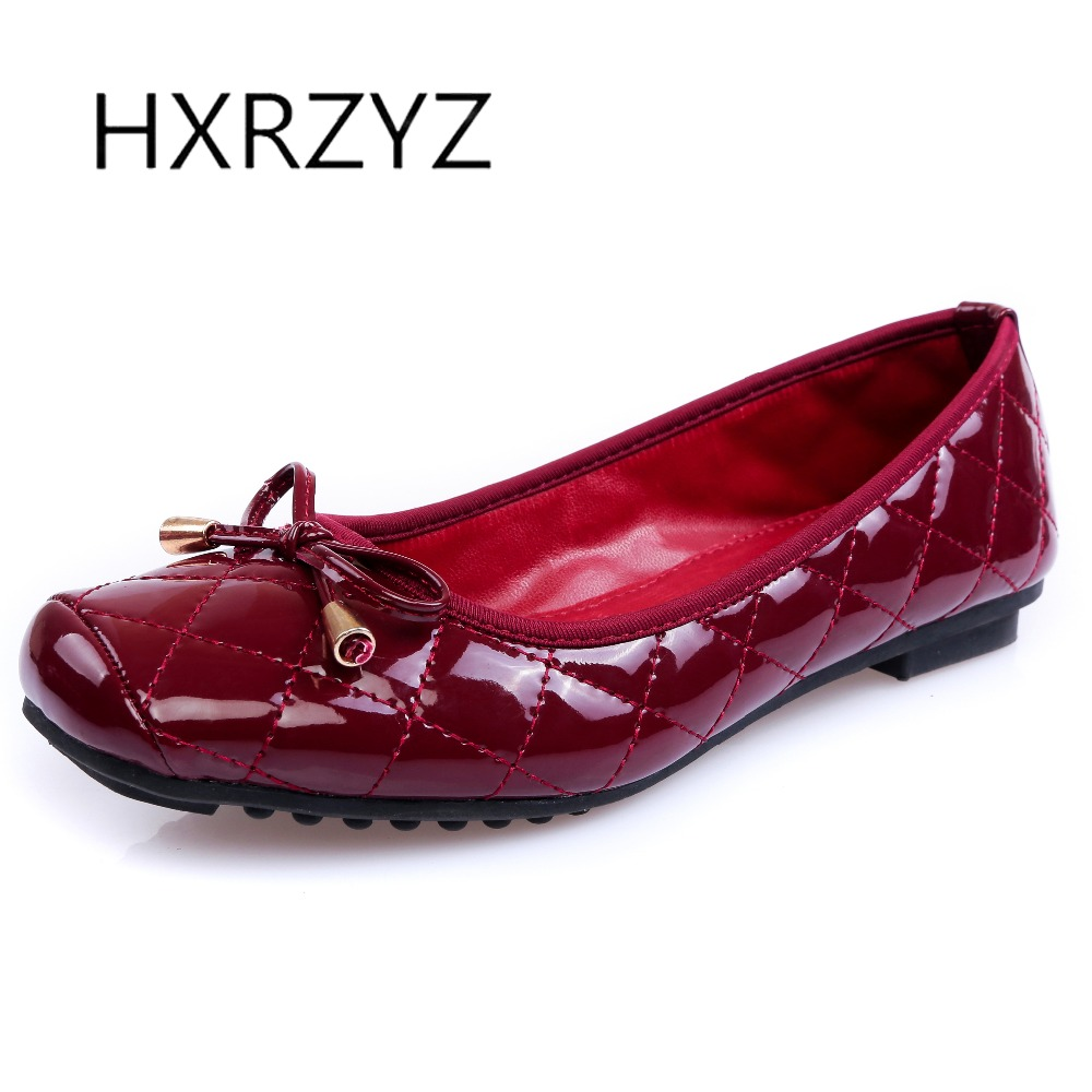 HXRZYZ large size women black flat shoes female patent leather loafers spring/autumn new fashion square toe bowknot casual shoes 2017 new spring female flat heels martin shoes bullock shoes female thick bottom loafers large size women shoes obuv ayakkab