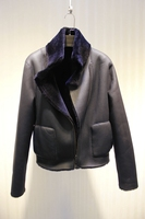 Arlenesain custom shearling dark blue aviator jacket