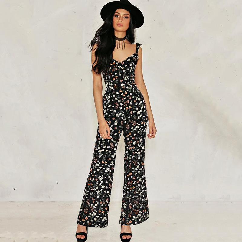 2017 Jumpsuits Summer Boho Style Chiffon Rompers Womens Jumpsuit Floral Backless Off Shoulder ...