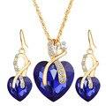 Oro de la manera Plateó Los Pendientes de Gota Colgante de Collar de Diseño de Lujo de las señoras de Cristal Joyería de Las Mujeres Conjuntos de Joyas de Boda