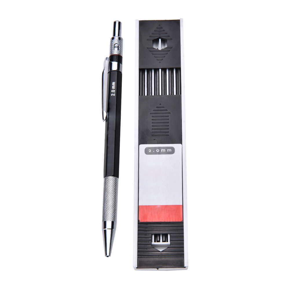 1set Mechanical Pencil 2mm 2B Lead Holder Automatic Mechanical Drawing Drafting Pencil 12 Leads Refills