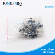 100PCS/Lot New  HER208 her208 Rectifier Diode 2A 1000V DIP Wholesale Electronic