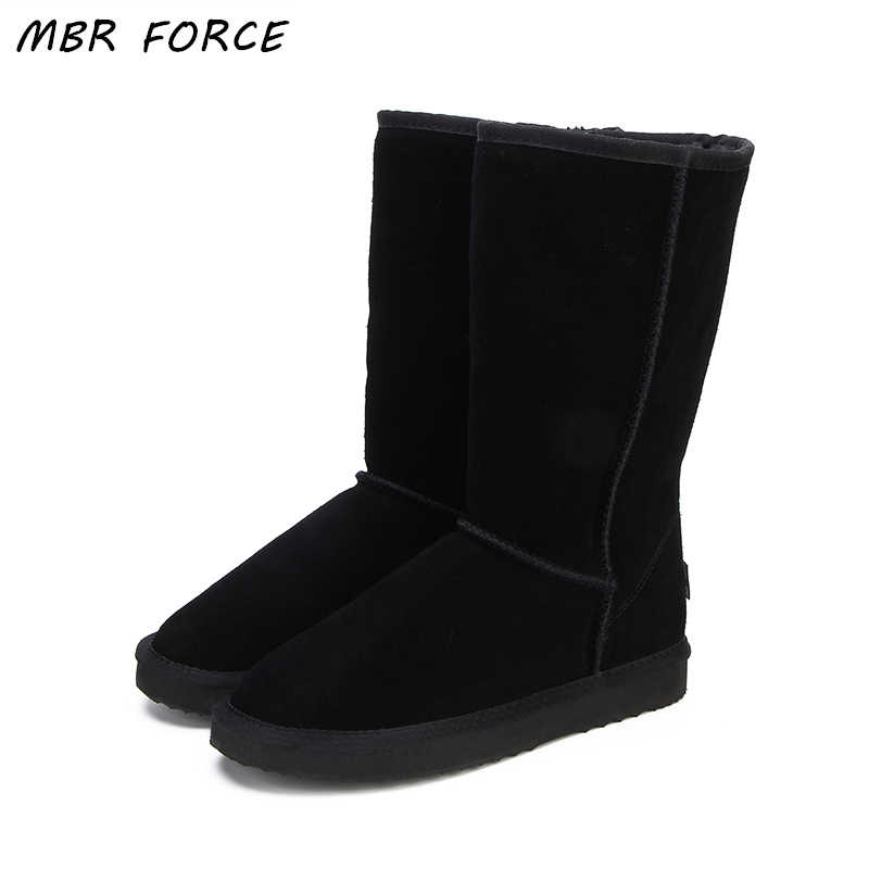 MBR FORCE High Quality  Snow Boots Women Fashion Genuine Leather Australia Classic Women's High Boot Winter Women Snow Shoes