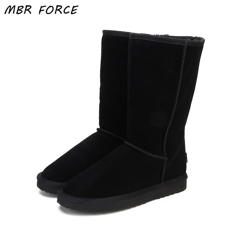 MBR силы Высокое качество Женские снегоступы модные из натуральной кожи в австралийском стиле Классические Для женщин высокая зимняя женска...