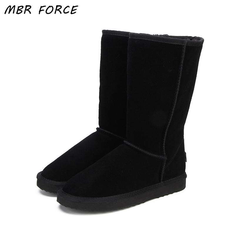 MBR FORCE High Quality Snow Boots Women Fashion Genuine Leather Australia Classic Women's High Boot Winter Women Snow Shoes goncale high quality band snow boots women fashion genuine leather women s winter boot with black red brown ug womens boots