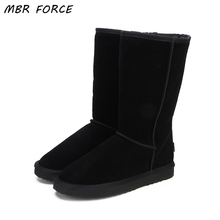 MBR FORCE High Quality  Snow Boots Women Fashion Genuine Leather Australia Classic Women's High Boot Winter Women Snow Shoes mbr force high quality women natural real fox fur snow boots genuine leather fashion women boots warm female winter shoes ship
