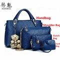 2017 New 4PCS/Set Leather Shoulder Bag Handbag Design Fashion Women Lady Tote Satchel Clutch Coin Purse Top Quality Free N578