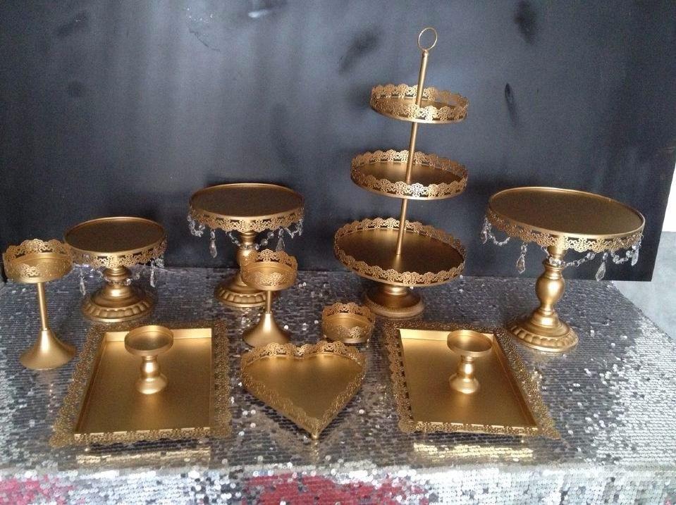 Gold Wedding Dessert Tray Cake Stand Cupcake 12pcs Set