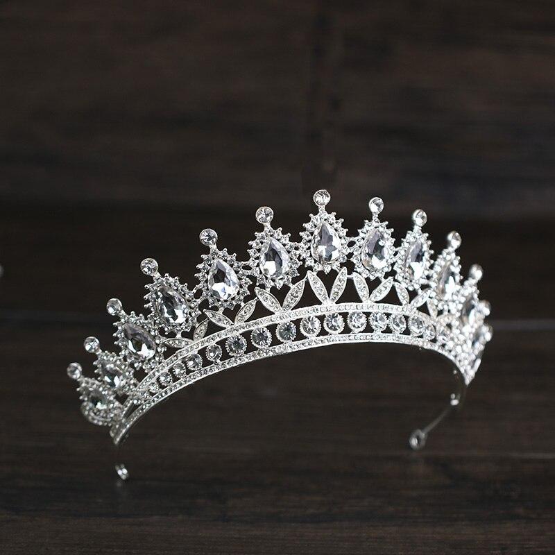New Fashion Silver Wedding Crystal Crown Hair Jewelry Handmade Rhinestone Baroque Bridal Tiaras Crown Hair Accessories For Women
