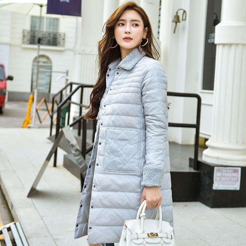 2019 autumn and winter new down jacket female long section lamb fur collar fashion slim temperament female jacket J707