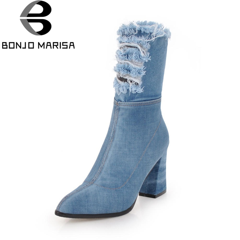 BONJOMARISA Fashion Ripped mid-calf Boots Women Denim Autumn 2018 Large Size 34-43 High Hoof Heels Shoes Woman Short Plush stylish mid waist denim solid color ripped shorts for women