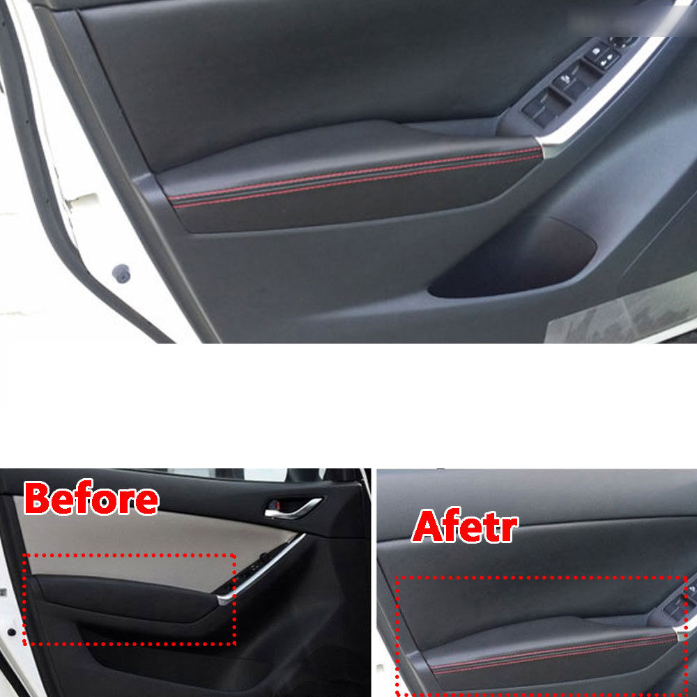 For Mazda CX-5 PU Door Armrest Surface Cover Trim Panel Waterproof Dust-proof Guards Protector Car Styling Accessories 2012-2015
