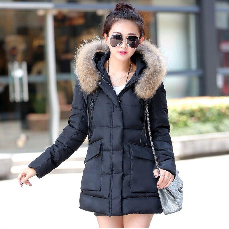 A Word Version Fur Collar Long Winter Jacket Women 2017 Winter Coat Women Slim Womens Winter Jackets And Coats Veste Parka Femme