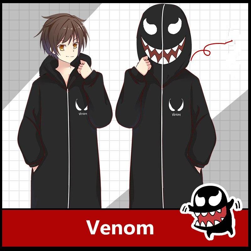Movie Anime Venom Cosplay Costumes Eddie Edward Brock Kids Adults Cartoon Cotton Pajamas Bathrobe Zipper Jumpsuits Suit New