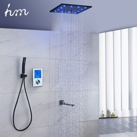 Luxury Thermostat 16 inch Shower System LCD Touch Screen Digital Display Black Large Shower Set 180 Degree Rotating Lower Faucet