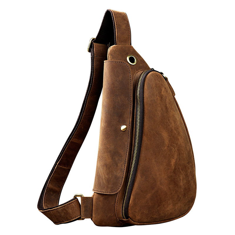 Crazy Horse Cowhide Crossbody Chest Bags Cool Shoulder Bag Genuine Leather Retro Triangle Casual Men Sling