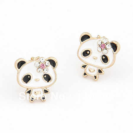 wholesale Cute Panda Earrings Lovely Animal earrings cartoon Bear Earrings for girl women Fashion Jewelry 2017