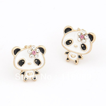 Grosir Lucu Panda Earrings Indah Animal earrings kartun Beruang Anting untuk gadis wanita Fashion Perhiasan 2017