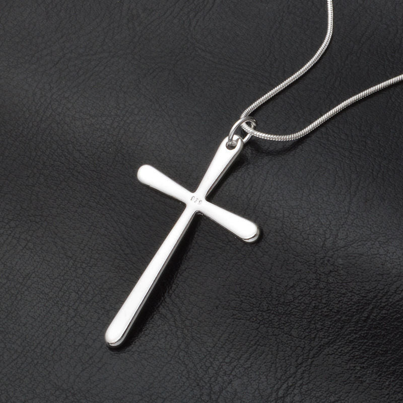 Classic Cross Pendant Necklace for Man Women Snake Chain Simple Silver Plated Jewelry Gift Dropshipping Wholesale in Pendant Necklaces from Jewelry Accessories