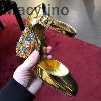 Macytino 2018 новые роскошные Туфли лодочки золотого цвета 10 см Для женщин свадебные туфли на высоком каблуке С кристалалми и стразами каблуке Ре