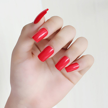 24pcs Red Square Long False Nails Impress Press-on Manicure Tips Reusable Trendy Fake For Nail Extension