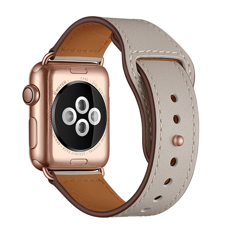 Ivory White Genuine Leather Watch Band Strap For Iwatch 38mm 44mm , VIOTOO Black Color Leather Watch Band Strap For Apple Watch