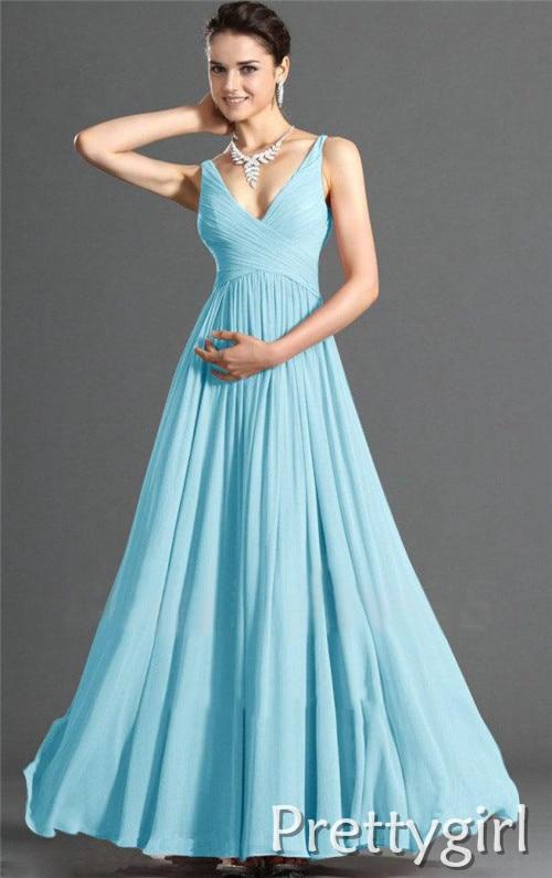 Light Blue Chiffon Bridesmaid Dress_Bridesmaid Dresses_dressesss