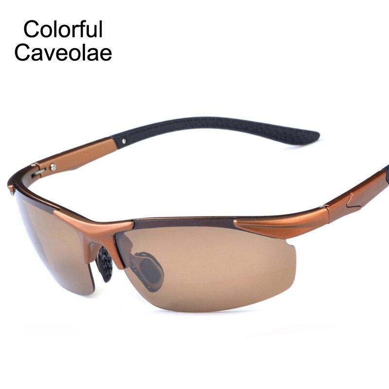 9fd689a81 Colorido Caveolae Marca Moda UV400 Polarizada Óculos de Sol Dos Homens  Óculos De Sol Populares Homem Dirigindo Óculos Coloridos Para Homens