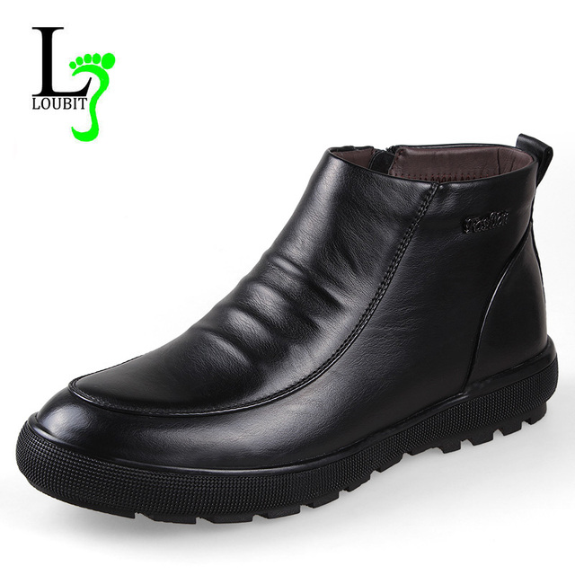Men Boots With Fur 2017 Winter Cow Leather Snow Boots Men Shoes Warm Men Footwear Rubber Ankle Boot Business Shoes