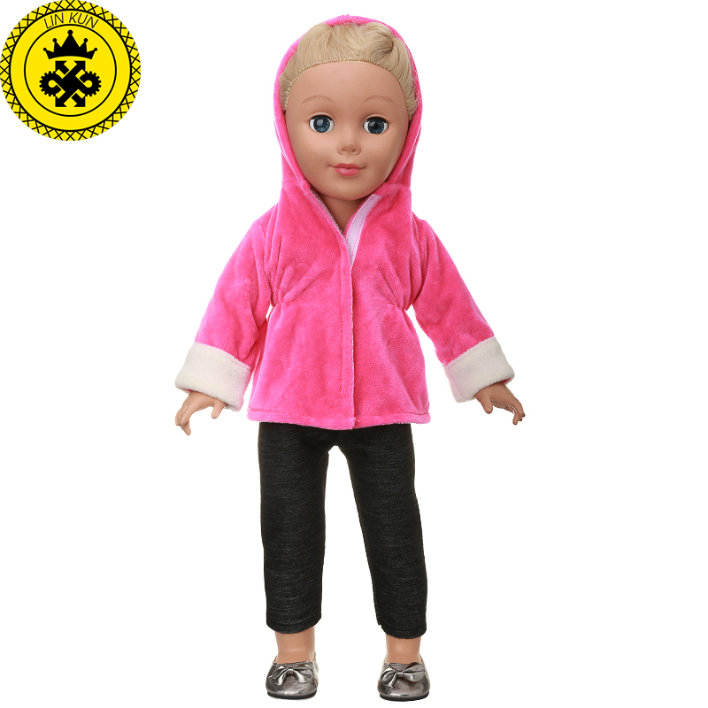 American Girl Doll Clothes Red Hooded Jacket + Black Trousers Suit for 18 inch Dolls Accessories Boneca Roupa  MG-541 1pcs black sunglasses for american girl dolls as for bjd blyth dolls eyeglasses suit face width about 8cm dolls