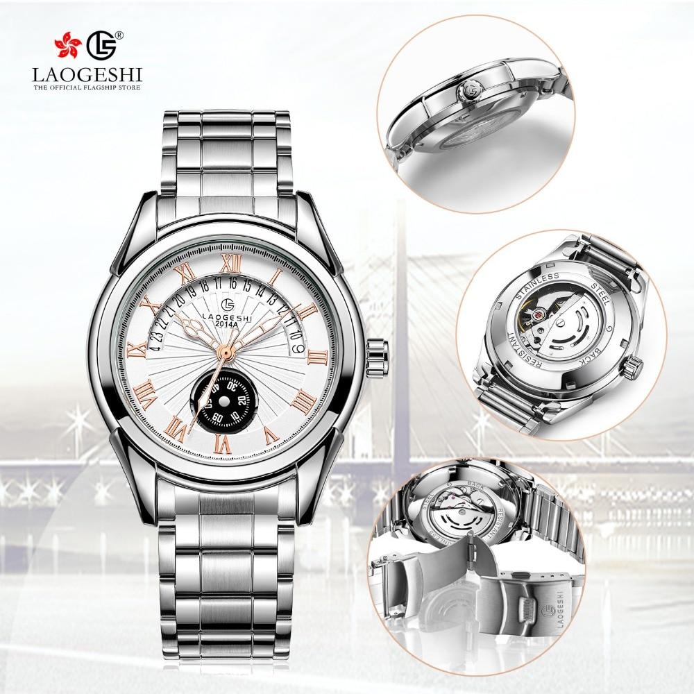 Men Fashion Calendar Waterproof Watch Top luxury brand LAOGESHI Men Steel Automatic Mechanical Watches Clock Gift zegarki meskie