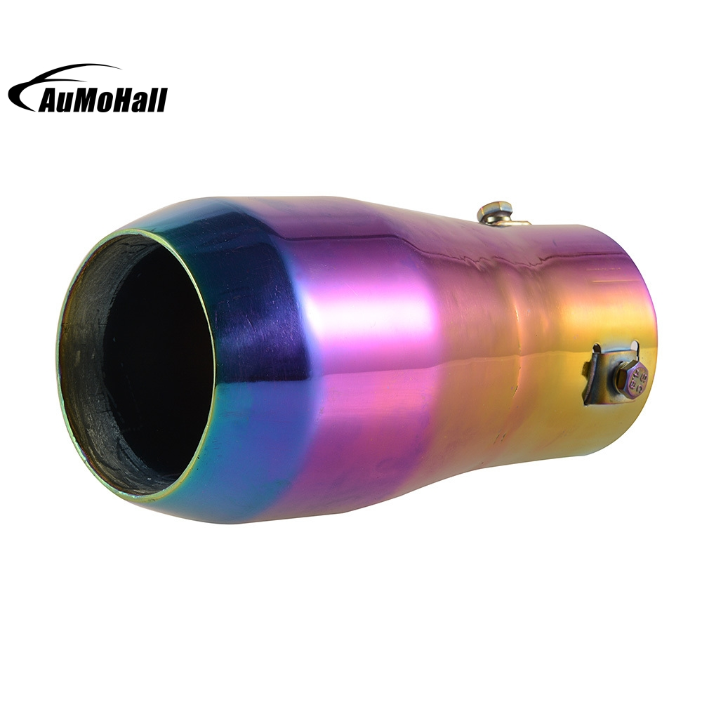 Colorful Purple Chrome Car Stainless Steel Round Tail Muffler Tip Pipe font b Automobile b font