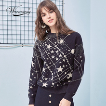 레트로 갤럭시 스타 패턴 스웨터 여성 빈티지 긴 소매 점퍼 2020 가을 겨울 숙녀 자카드 스웨터 Pullovers C 285